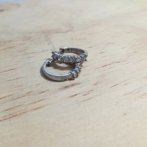 Jewelry - Small sterling silver hoop earrings with Cz